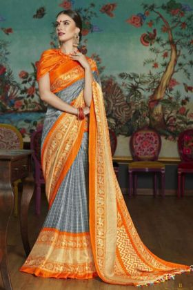 Linen Juth Printed Work Traditional Saree In Grey Color
