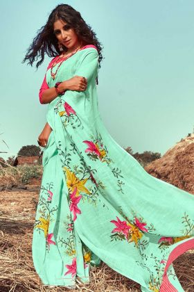 Linen Latest Saree Collection With Sea Green Color