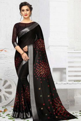 Linen Lovely Printed Saree Black Color