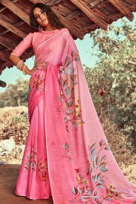 Linen Pink Daily Wear Printed Saree