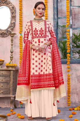 Linen Printed Designer Cream And Red Palazzo Suit