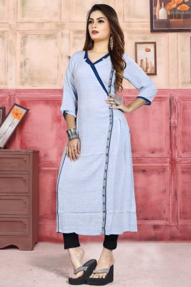 Linen Rayon Casual Kurti Off White Color