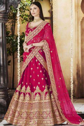 Linen Silk Bridal Lehenga Choli Rani Pink Color With Heavy Multi Embroidery Work
