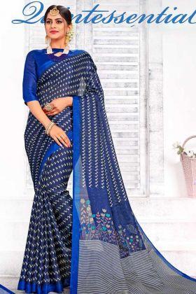 Linen Silk Latest Collection Navy Blue Saree