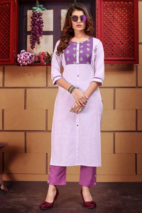 Linen Stylish Kurti With Pant Lilac Color With Thread Work