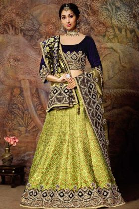 Liril Green Lehenga Jacquard Weaved Silk