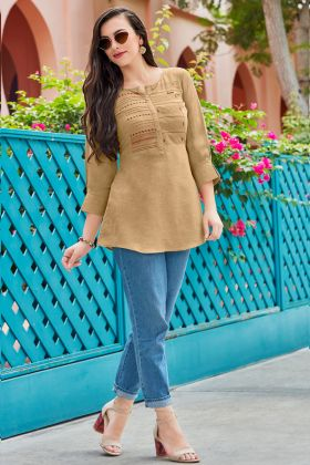 Litchi Plain Tunic Tops Resham Embroidery Work In Beige Color
