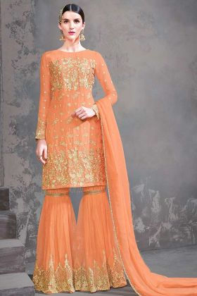 Look Beautiful Wearing Designer Suit In Orange Color