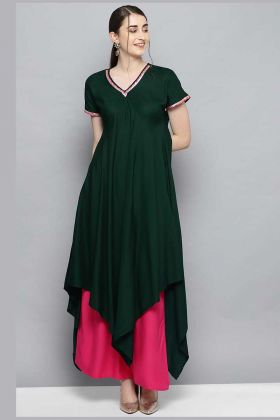 Look Attractive Rayon Fancy Kurti And Bottom Dark Green And Rani Pink