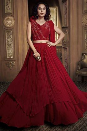 Look Delicious With Red Lehenga And Net Dupatta
