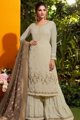Look Pretty Cream Georgette Sharara Suit