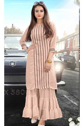 Look Pretty Readymade Sharara Dress In Light Peach Color