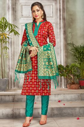 Looking Fabulous In Red Color Banarasi Art Silk Salwar Suit