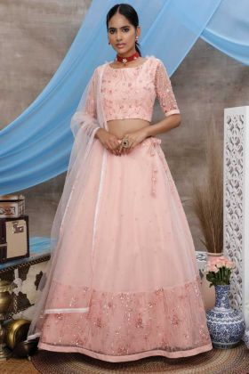 Looking Good Party Wear Peach Color Lehenga Choli