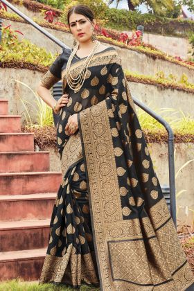 Looking Great Black Cotton Handloom Saree