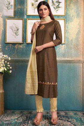 Looking Stunning In Copper Color Khanak Slub Stitched Kurti