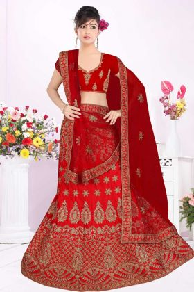 Looking Gorgeous Red Bridal Lehenga With Satin Silk Fabric