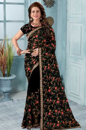 Looking Heavy Designer Saree Black With Blouse