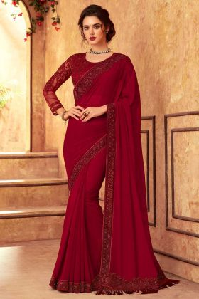 Lotus Georgette Embroidered New Style Saree In Rose Pink