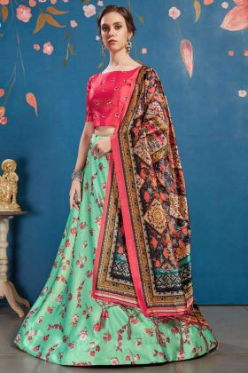 Lovely Designer Lehenga Choli In Sea Green Color