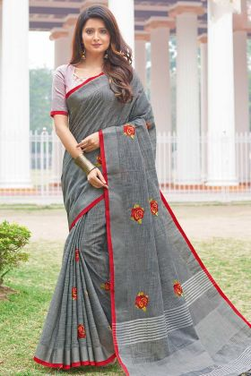 Lovely Grey Linen Cotton Saree With Baby Pink Blouse