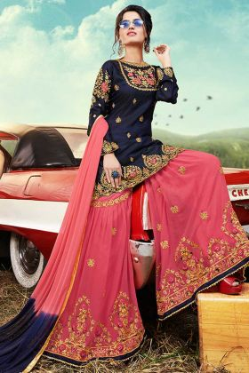 Lovely Heavy Designer Sharara Suit Navy Blue With Georgette Bottom