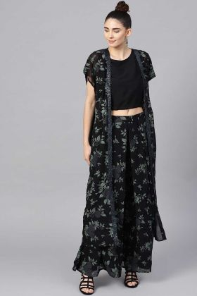 Lovely Indo-western Pair Black Color With Palazzo Pant