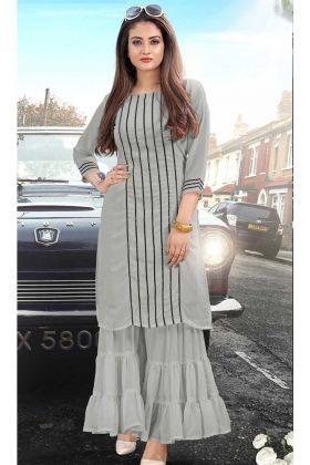 Lovely Readymade Georgette Kurti Grey Color