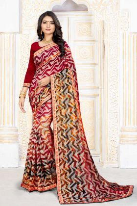 Lovely Red and Multi Color Chiffon Brasso Printed Saree