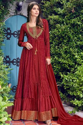 Lovely Red Colored Indo-Western Suit With Printed Jacket