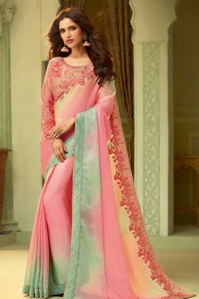 Luxury Silk Multi Color Embroidery Saree