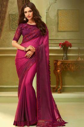 Luxury Silk Rose Pink Fancy Saree