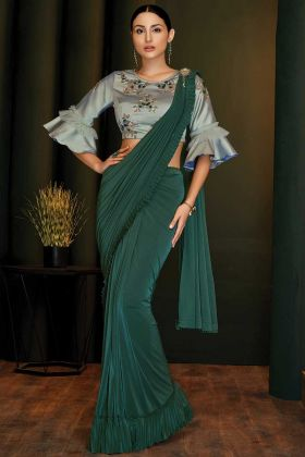Lycra Party Wear Green Saree For Engagement