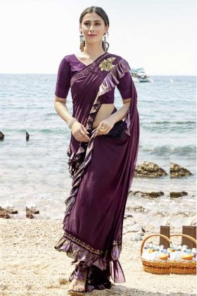 Lycra Wine Color Designer Ruffle Saree In Stone Work