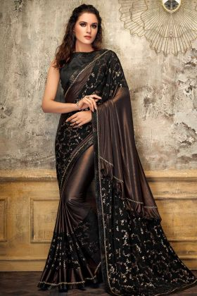 Lycra And Fancy Net Designer Ruffle Saree Brown Color