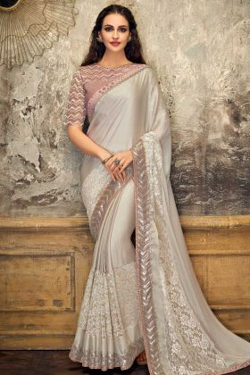 Lycra And Fancy Net Festive Saree Grey Color In Zari Work