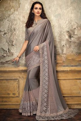Lycra And Fancy Net Festive Saree Grey Color With Thread Work