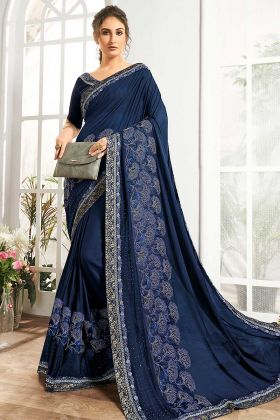 Lycra And Net Fabric Navy Blue Color Party Wear Saree