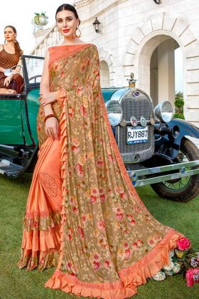Lycra Beige And Light Orange Wedding Saree Printed Work