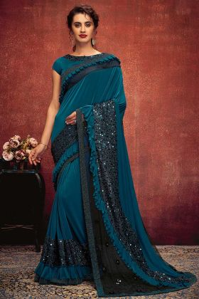 Lycra Designer Ruffle Saree In Peacock Blue Color