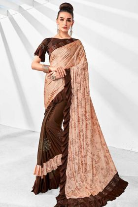 Lycra Designer Ruffle Saree Peach and Brown Color With Stone Work