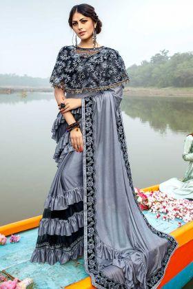 Lycra Grey Designer Saree With Embroidered Designer Belt For Wedding
