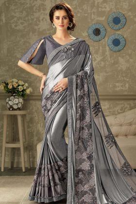 Lycra Grey Party Wear Saree