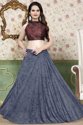 Lycra Party Wear Lehenga Choli Foil Print Work In Grey Color