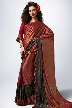 Lycra Party Wear Ruffle Saree Fancy Lace Border Work In Maroon Color