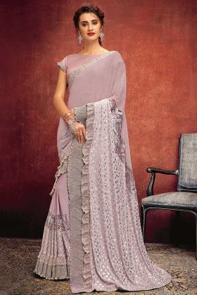 Lycra Party Wear Ruffle Saree In Pink Color