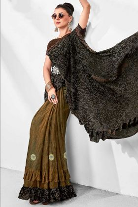 Lycra Party Wear Ruffle Saree Stone Work In Black and Copper Color