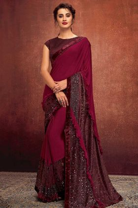Lycra Party Wear Saree Embroidery Work In Maroon Color