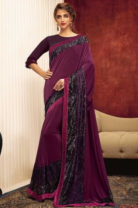 Lycra Wedding Saree In  Wine Color