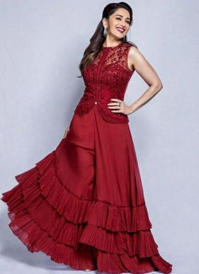 Madhuri Dixit Maroon Palazzo Suit With Top